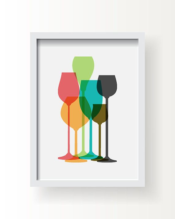 Modern Wine Glass Decor Colorful Wine Glass Poster by BlackPelican