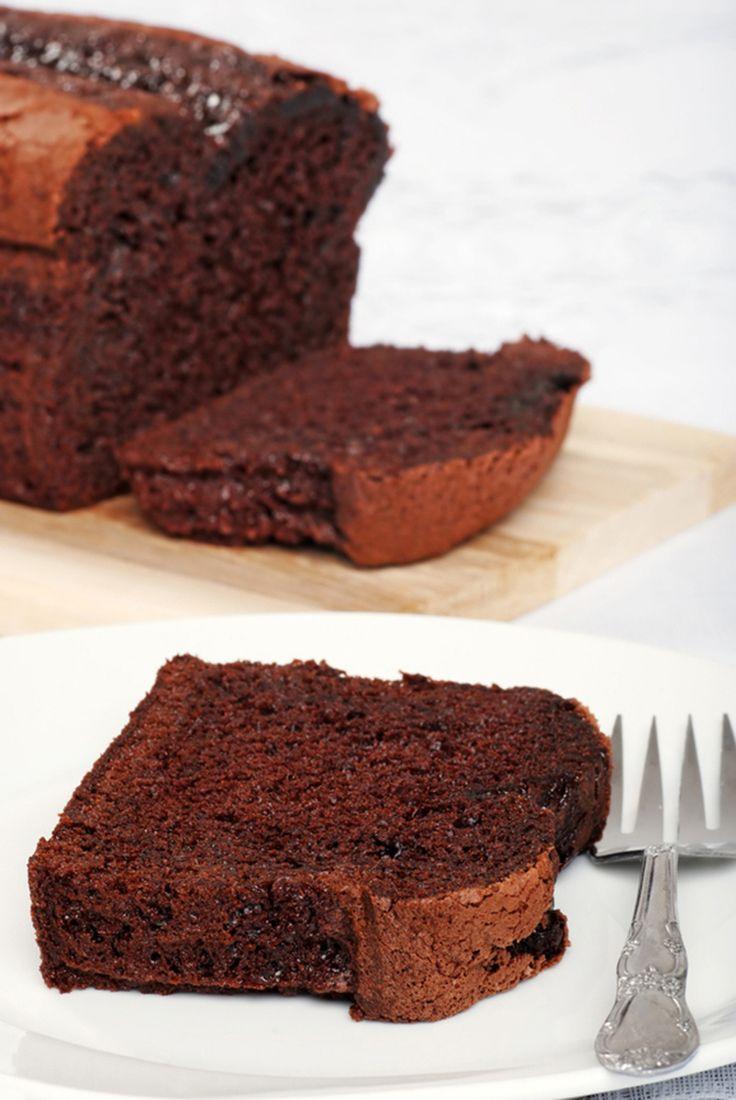 Belgium chocolate cake loaf slice