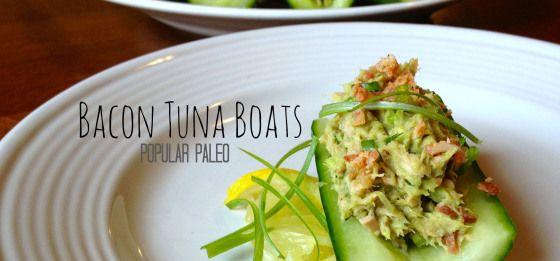 Bacon Tuna Boats Main | Popular Paleo  They're mayo-free! Fresh avocado is used in lieu of mayo to bring this fresh tuna salad together.