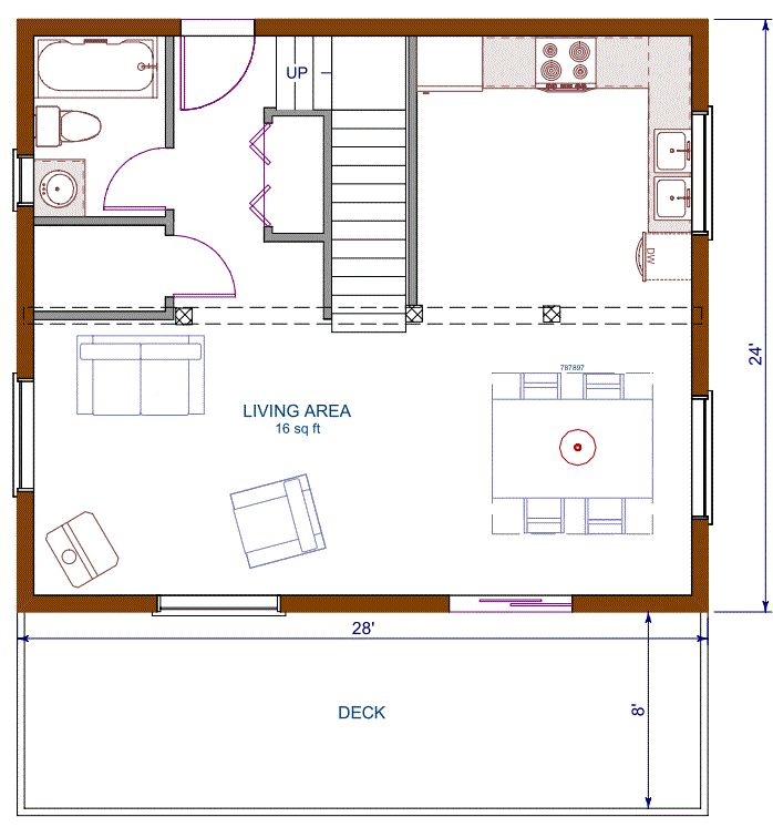 Floor plan cottage 672 sqft footprint b 1200 sqft for Cabin house plans with garage