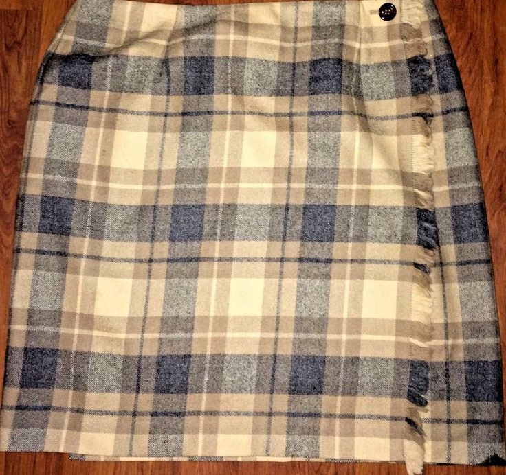 TALBOTS PLAID WRAP STYLE SKIRT, BROWN BEIGE, GRAY, 100% WOOL, LINED, FRINGED, 14…
