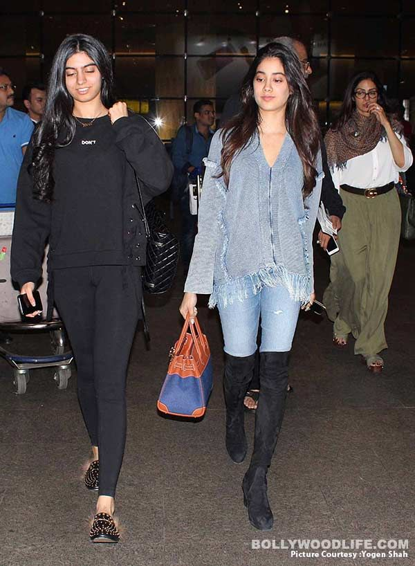 Jhanvi Kapoor has caught on the denim fever while Khushi Kapoor opts for all black avatar at the airport – view HQ pics #FansnStars