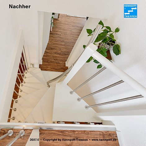 kenngott 1qm treppe stufen esche wei longife geschwungener mittelhandlauf in edelstahl. Black Bedroom Furniture Sets. Home Design Ideas