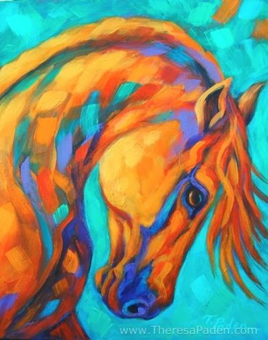 Affordable Horse Painting in Bright Southwest Colors by Theresa Paden, painting by artist Theresa Paden