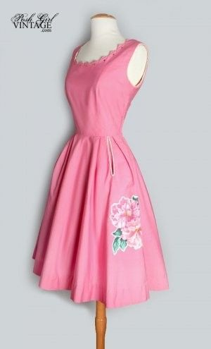 Pink dress, flower trim