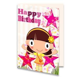 Een verjaardagskaart voor een kind van een meisje met een oranje jurkje aan. Achter het meisje staan grote roze sterren en een wit met lichtroze gestreepte achtergrond. Links bovenin staat ''Happy Birthday'' geschreven in roze letters. Aan de binnenkant van de verjaardagskaart is de achtergrondkleur lichtroze met links onderin het meisje.