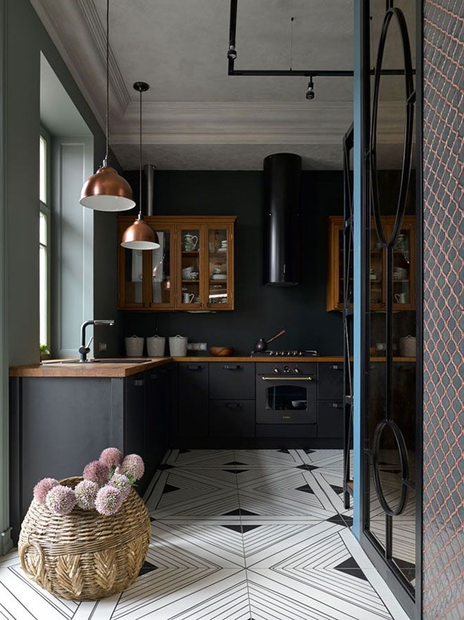 Cool contemporary apartment in a historic house in Moscow, Russia #interior #design #home #decor #idea #inspiration #cozy #style #room #light #color #tone #kitchen #black #white #floor #tile #tiles #cool #cabinet #scandi