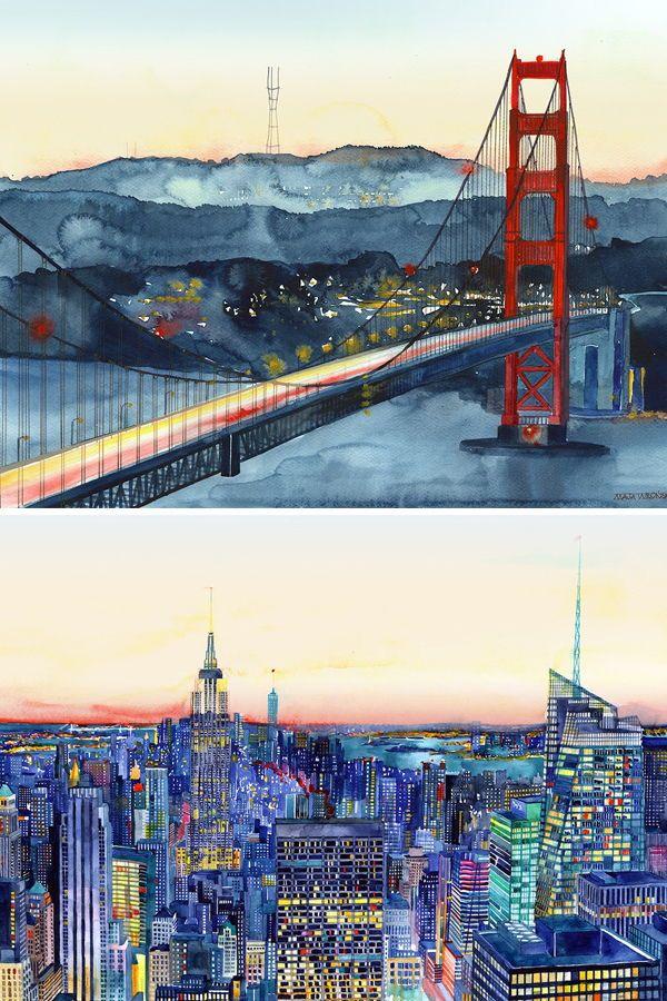 San Francisco Bridge Architecture MULTI CANVAS WALL ART Picture Print VA