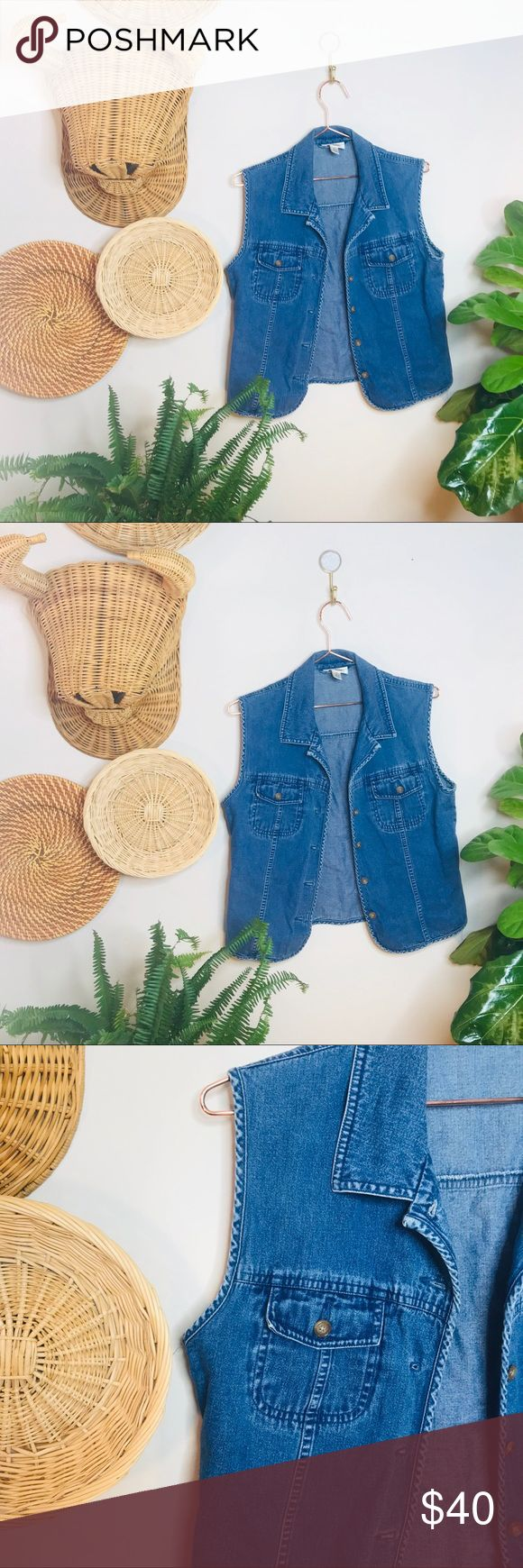 vtg vsco 90s Denim Button Up vest Vintage Retro 90's Light Wash Denim Jean Vest  • Tags say small but would fit a XS nicely  tags • boho, beachy...