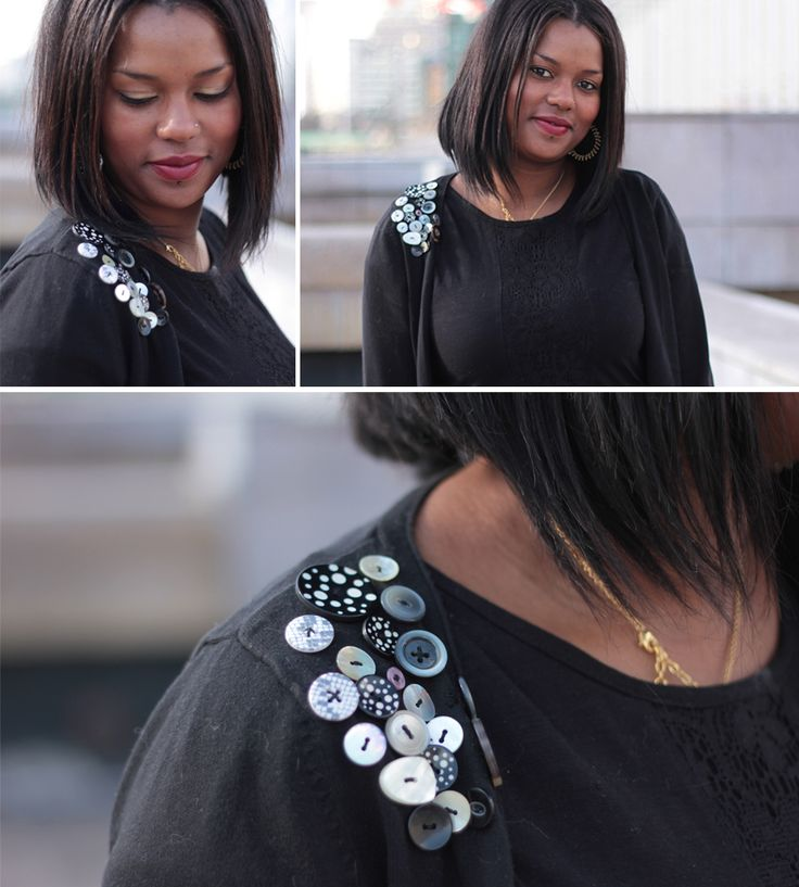 Customisation d'un gilet avec une série de boutons sur l'épaule