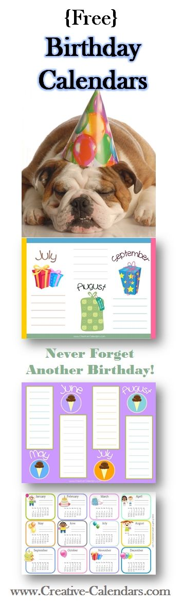 27 best Free Printable Calendars images on Pinterest Free - sample birthday calendar
