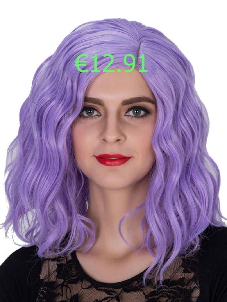 Halloween wigs wavy purple shoulder length hair womens