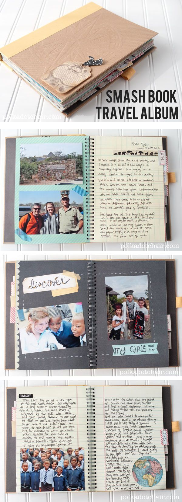 Ideas for using a Smash book to keep a travel journal and scrapbook of your vacation. Lots of fun page ideas!