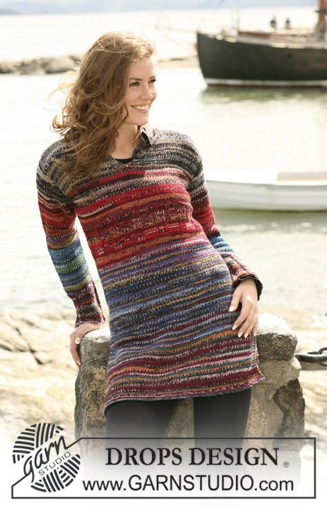 "Autumn Lane - DROPS tunika med multistriber i dobbelt ""Fabel"". Str S - XXXL. - Free pattern by DROPS Design"