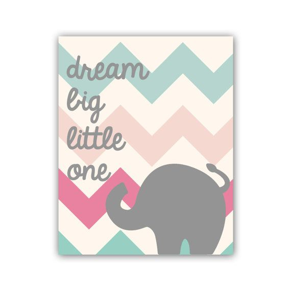 Nursery Print Chevron Nursery Art Print 8x10 Typography Print Dream Big Little One Elephant Art Print on Etsy, $18.00
