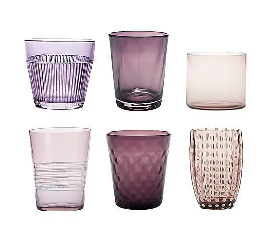 Set di 6 bicchieri acqua in vetro Melting Pot assortiti - ametista