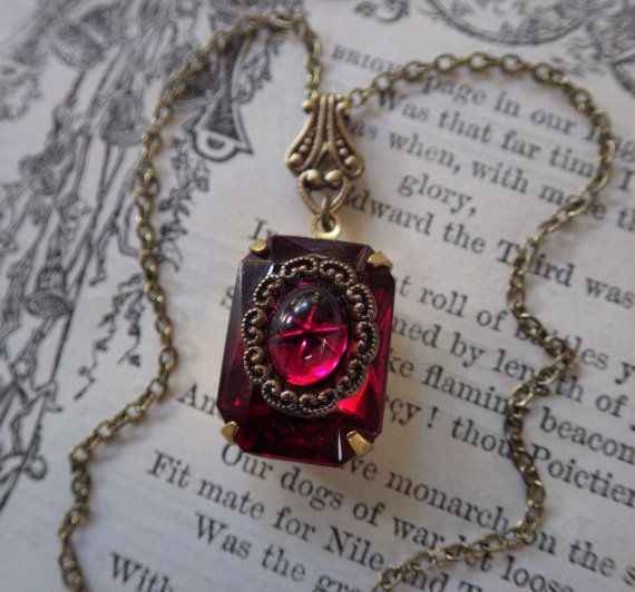 Art Deco ~ Ruby Pendant ~ Vintage Style ~ July Birthstone ~ Ruby Necklace ~ Vintage Glass ~ by LadyofTheLakeJewels