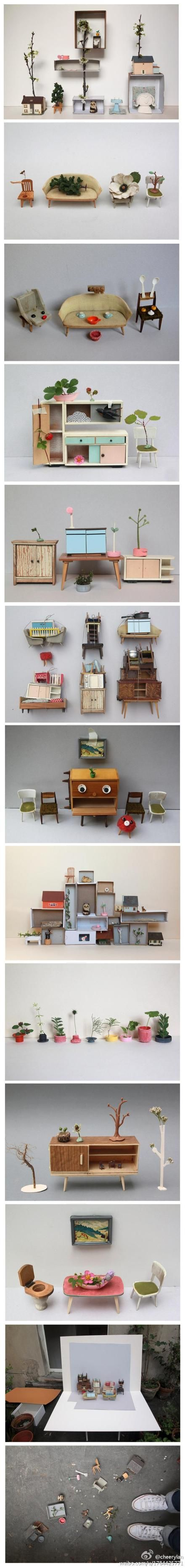 Plein d'idées de mobilier à fabriquer soi-même pour maison de poupées.