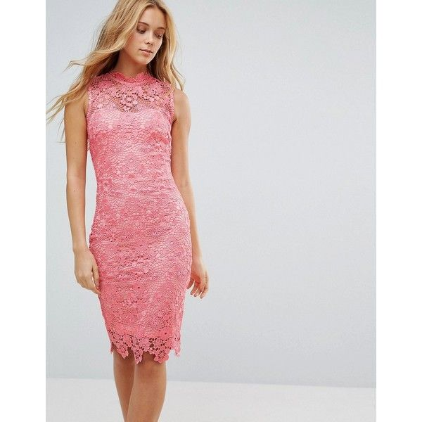 Paper Dolls Lace Midi Dress ($85) ❤ liked on Polyvore featuring dresses, pink, bodycon dress, high neck bodycon dress, lace dress, pink lace dresses and print bodycon dress