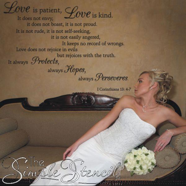 1 Corinthians Love is patient, love is kind, etc custom vinyl wall ...