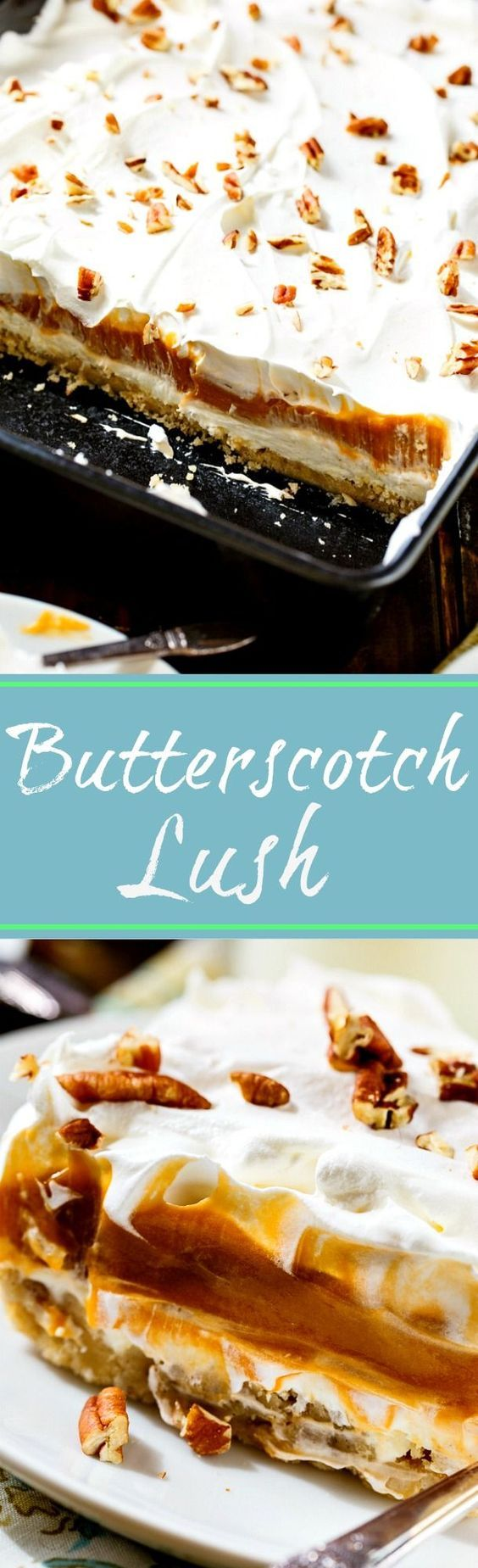 Butterscotch Lush with a buttery crust made from Pecan Sandies cookie crumbs.