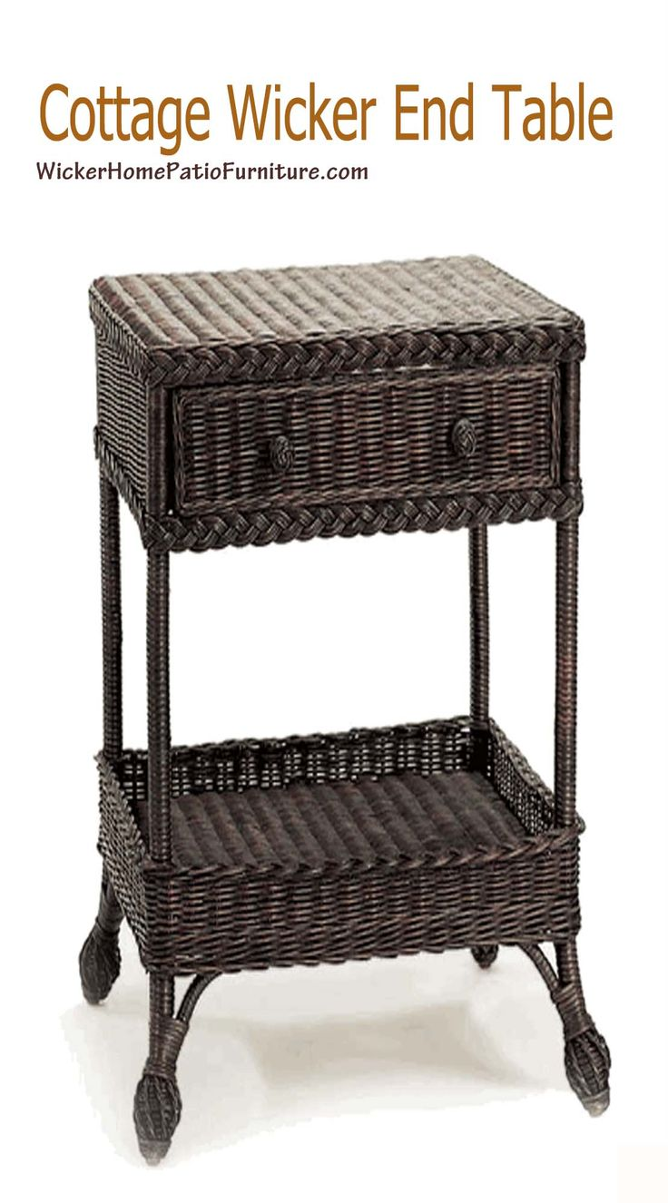 Cottage Wicker End Table was a multi-purpose intention having generous sized shelves that can be used as display for decorative collectibles or storage areas. A handy size drawer space provides additional storage room for incidentals that you may like to keep collected in one spot. Additionally the gentle flared wrapped ball feet add sophistication to the appearance of the table.