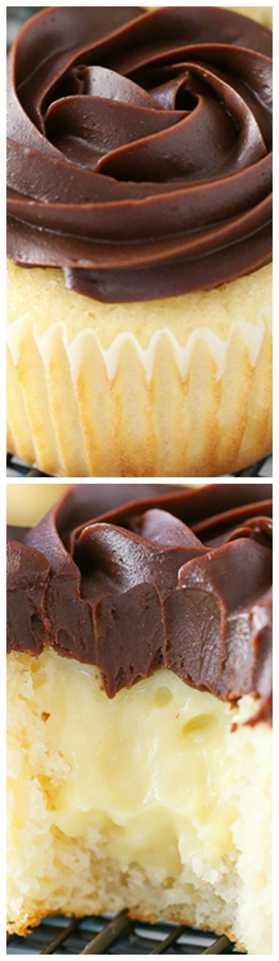 Boston Cream Pie Cupcakes ~ They are to die for... A moist vanilla cupcake pastry cream filling and beautiful chocolate ganache topping make this one tasty cupcake you will definitely want to sink your teeth into.
