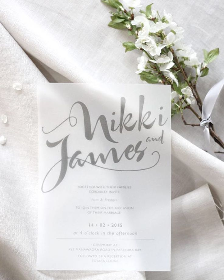 """Nikki & James' stylishly understated wedding invitation printed onto smokey, transparent vellum paper  more pics up on the blog! #linkinprofile…"""