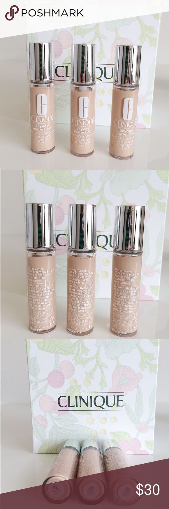 Clinique beyond perfecting concealer + Foundation Three beyond perfecting foundation + Concealers in color 02 alabaster. Brand new unopened travel sizes. A little definitely goes a LONG way with this foundation/concealer as it is a heavy coverage. Clinique Makeup Concealer