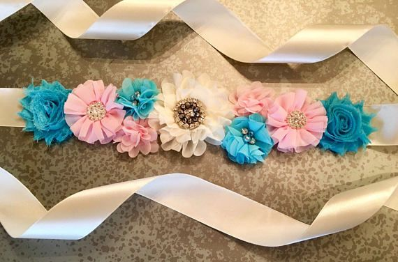 Gender Reveal Sash Pink and Blue Sash Reveal Party Gender