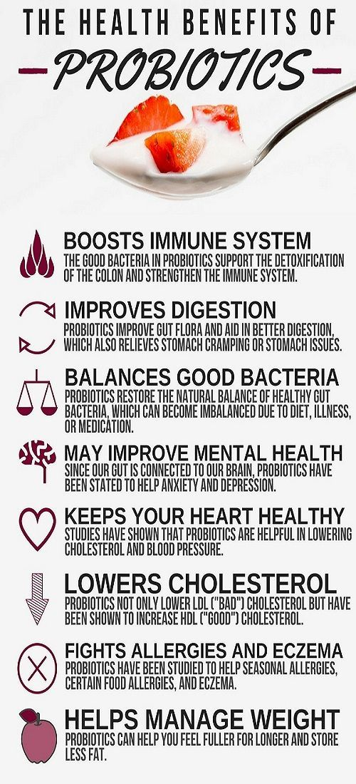 20 Probiotics Benefits   Probiotics are bacteria that line your digestive tract and support your body's ability to absorb nutrients and fight infection. In fact, there are actually 10 times more probiotics in your gut than cells in your body!