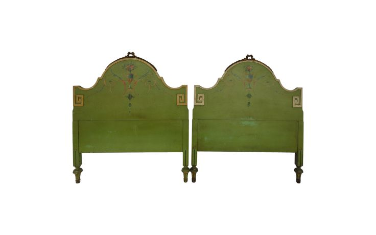 Vintage Neoclassical Style Painted and Carved Wood Headboards Set