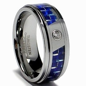 Mens Tungsten Carbide Ring W Blue Carbon Fiber Inaly And CZ Size