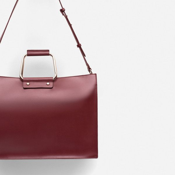 Zara Tote With Metallic Handle ($50) ❤ liked on Polyvore featuring bags, handbags, tote bags, leather handle tote bag, genuine leather purse, zara tote, genuine leather tote bag and metallic leather tote