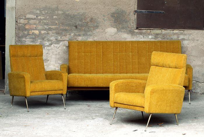 Canap fauteuils vintage jaune moutarde ann e 60 i for Canape annee 60