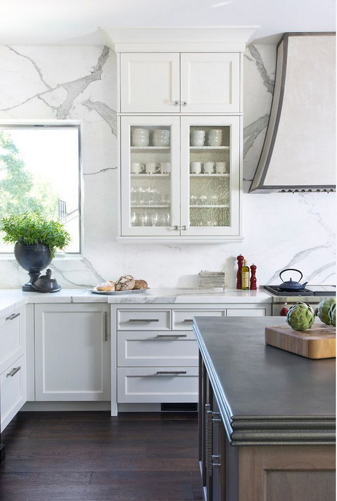"""Backsplash and Countertop. The island countertop is 3.75"""" pewter and the perimeter countertop and wall are both in Calacatta. #Backsplash #Countertop Exquisite Kitchen Design"""