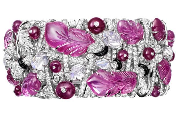 Cartier High Jewellery platinum and pink sapphire bracelet (price on request; Cartier)