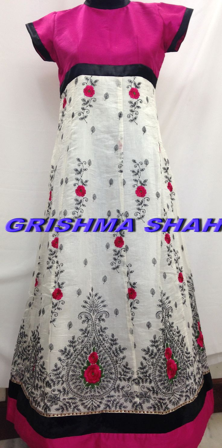 Pink white dress. Flaunt your feminine side with this lovely ethnic wear. For details email at sweetgrishy@yahoo.co.in Happy to help.