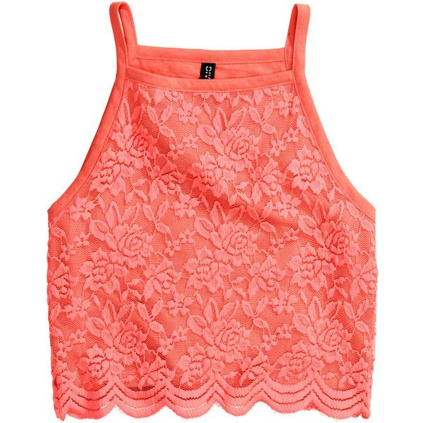 H&M Jersey crop top (385 THB) ❤ liked on Polyvore featuring tops, crop tops, shirts, neon coral, red crop shirt, neon tops, red top, shirts & tops and crop shirts
