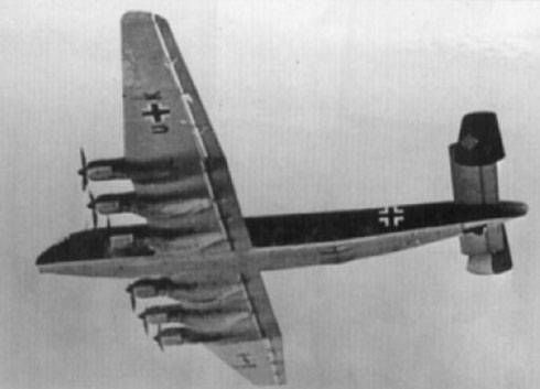 Junkers Ju 390 V2.  Two prototypes were created by attaching an extra pair of inner-wing segments onto the wings of basic Ju 90 and Ju 290 airframes, and adding new sections to lengthen the fuselages. The second prototype, the V2 (RC+DA), was longer than the V1 because it was constructed from a Ju 290 airframe (using the fuselage of Ju 290 A-1 Werknummer J900155).