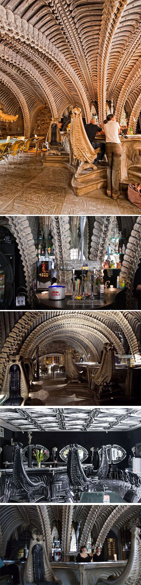 HR Giger Museum Bar, Gruyeres, Switzerland by HR Giger. -Alien movie-
