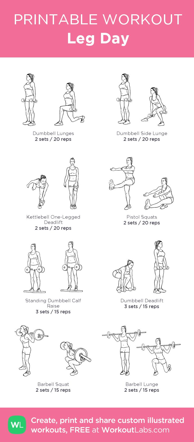 Leg Day: my custom printable workout by @WorkoutLabs pair with chest and back day