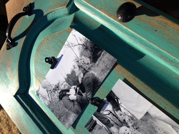 Weathered Photo Holder  made from an old cabinet door...GORGEOUS!!!