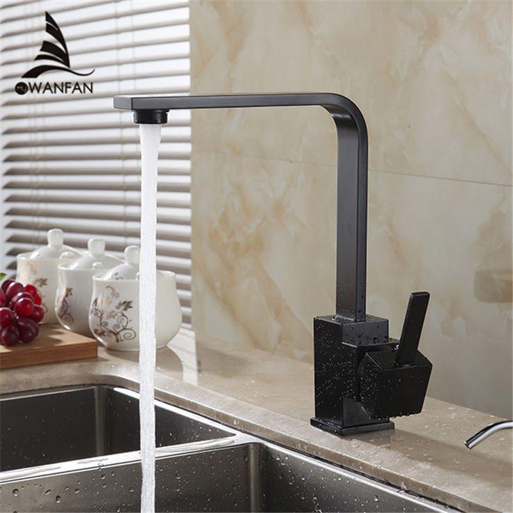 Бесплатная доставка черного цвета с глянцевым латунь поворотный кухонные мойки кран 360 град. вращая кухонные смесители GYD 7115R купить на AliExpress
