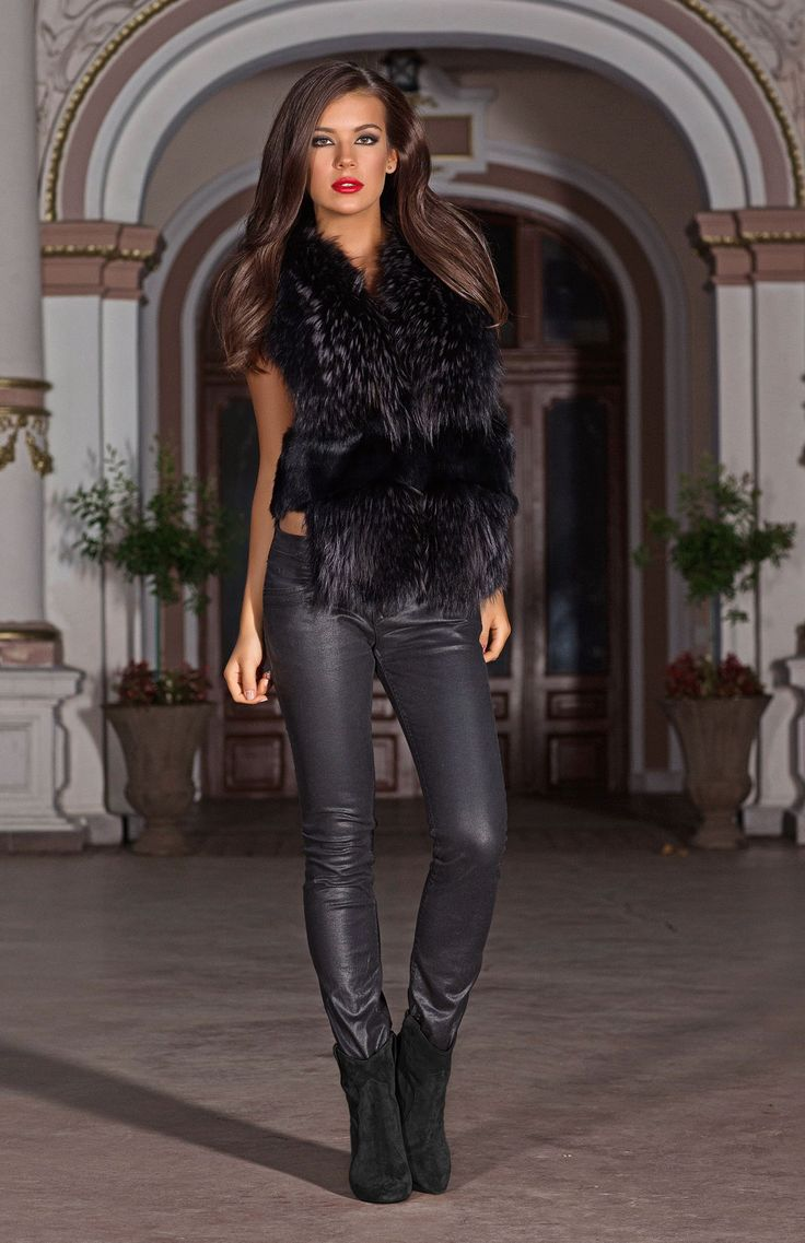 Celestine is a stunning black sleeveless jacket made from luxurious real rabbit and fox fur. The perfect item for day or night, this is a must have piece. http://www.veromilano.com/shop/best-sellers/jackets/celestine-black/
