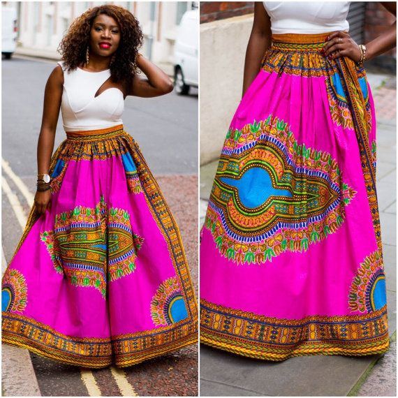 Pink Angelina dashiki maxi skirt African print skirt for by Laviye