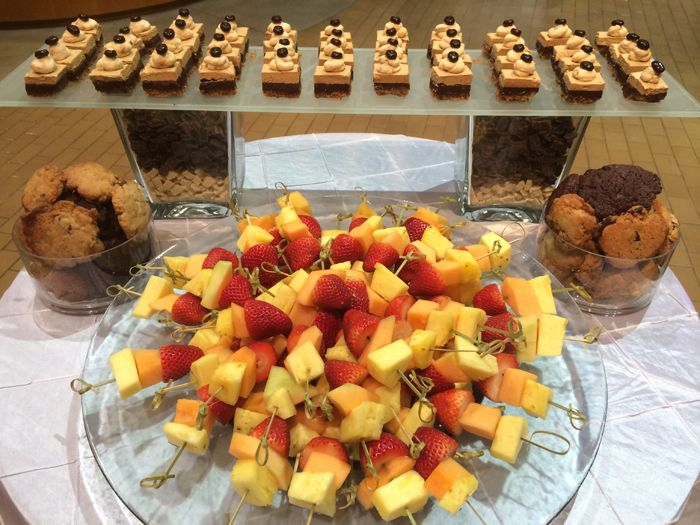 Here you can see another station from the event Eat Your Heart Out, with our Gateau de la crème de café bites, assortments of our in house freshly baked cookies, and fresh fruit kabobs