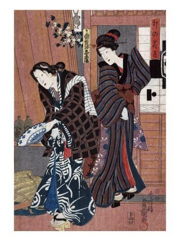 Two Women, one Holding a Large Bowl, Japanese Wood-Cut Print Posters tekijänä Lantern Press AllPosters.fi-sivustossa