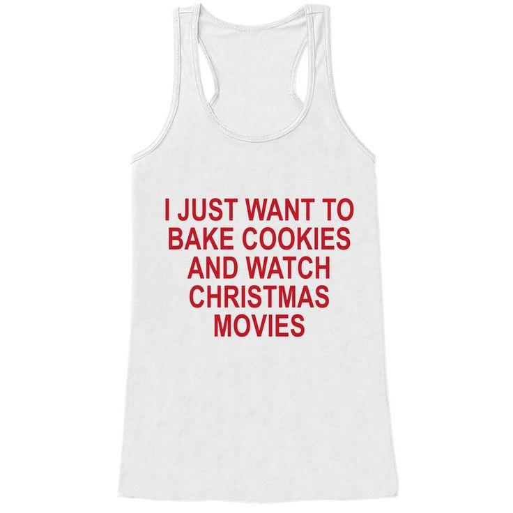 Women's Christmas Shirt - Bake Cookies Shirt - Mom Christmas Present Idea - Family Christmas Pajamas - White Tank Top - Christmas Gift Idea
