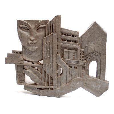 Massief loden wandsculptuur ca.100 kg ontwerp uitvoering Leon Leyritz 1888-1976 in eigen atelier Parijs / Frankrijk 1963